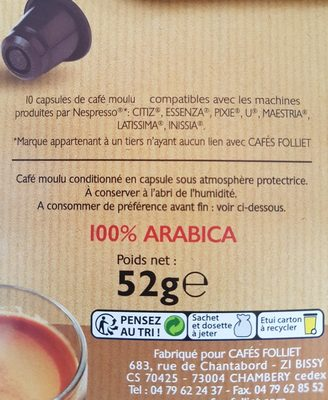 Capsules de cafe a l'ancienne - Ingredienti - fr