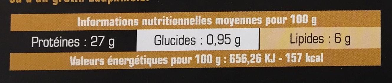 2 pavés de Cerf congelés - Informations nutritionnelles