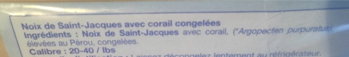 Noix de Saint Jacques avec Corail - Ingredients - fr