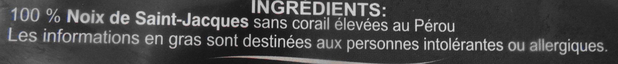 Noix de Saint-Jacques Sans Corail - surgelé - Ingrediënten