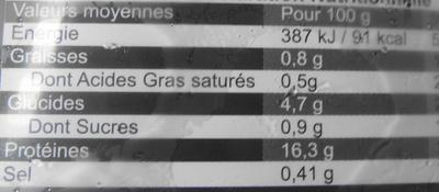 Noix de Saint-Jacques Sans Corail - surgelé - Voedingswaarden