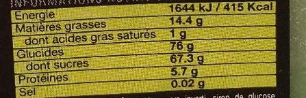 Pâte d'amandes 33%, verte - Informations nutritionnelles