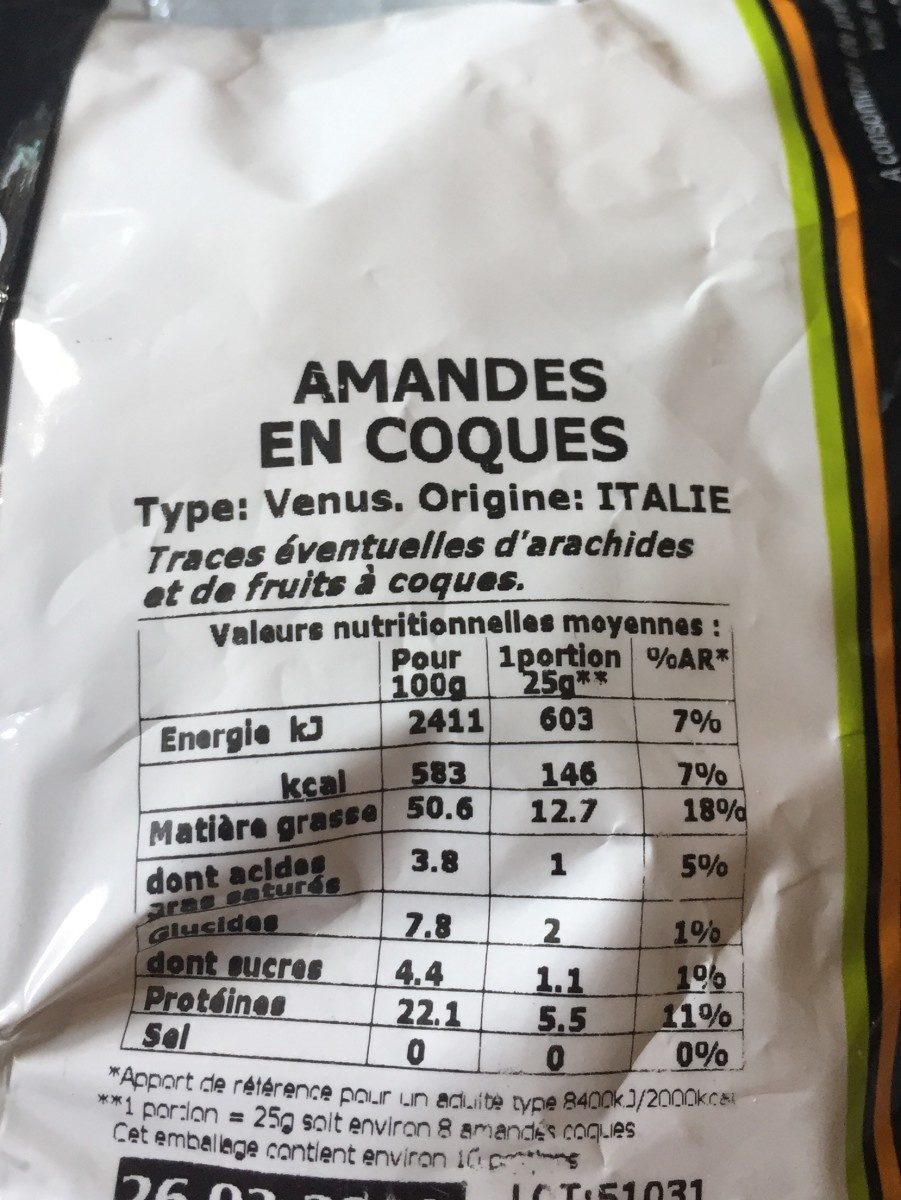 Amandes en coques - Ingredients - fr