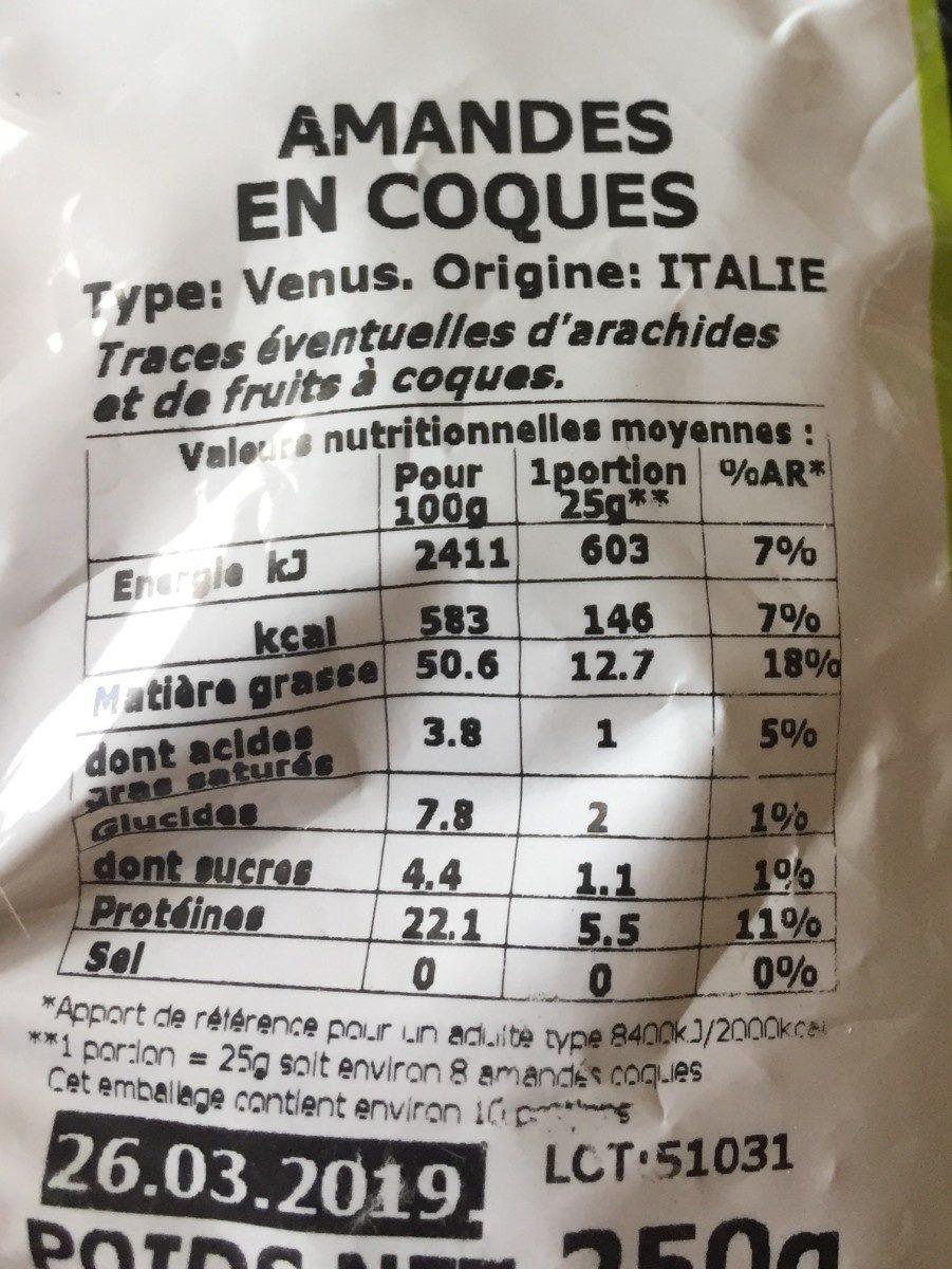 Amandes en coques - Nutrition facts - fr