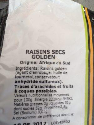 Raisin golden - Ingredients - fr
