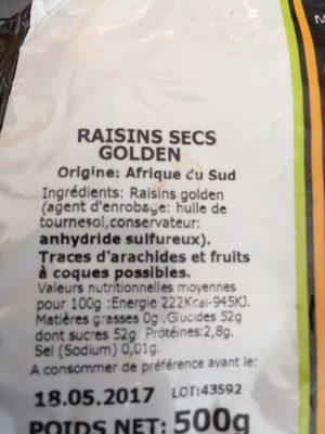 Raisin golden - Nutrition facts - fr