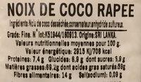 Noix de coco rapée, sachet - Informations nutritionnelles - fr
