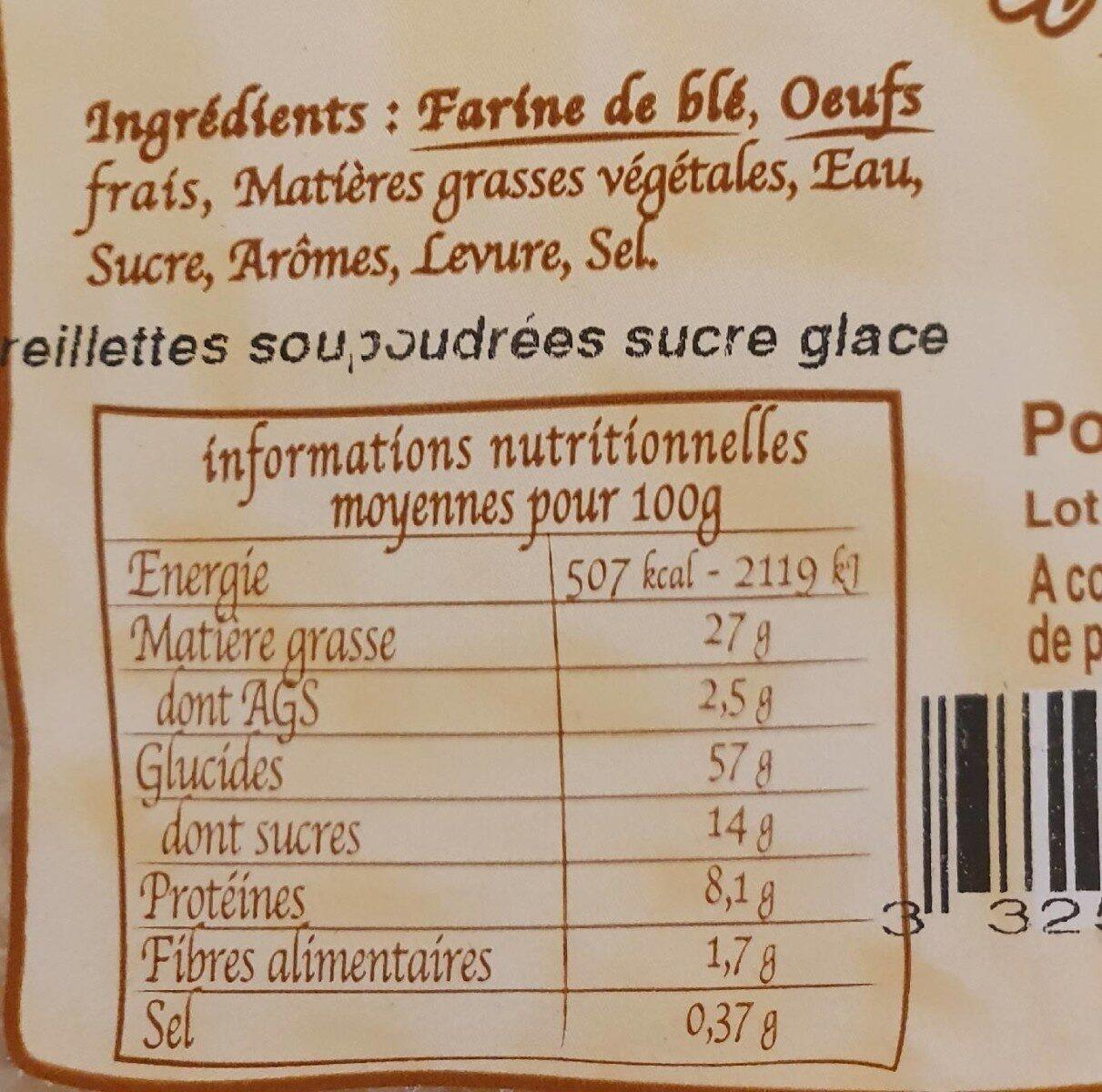 Oreillette d'autrefois - Nutrition facts - fr