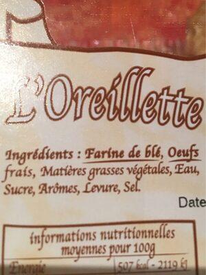 L'oreillette d'autrefois - Ingredients