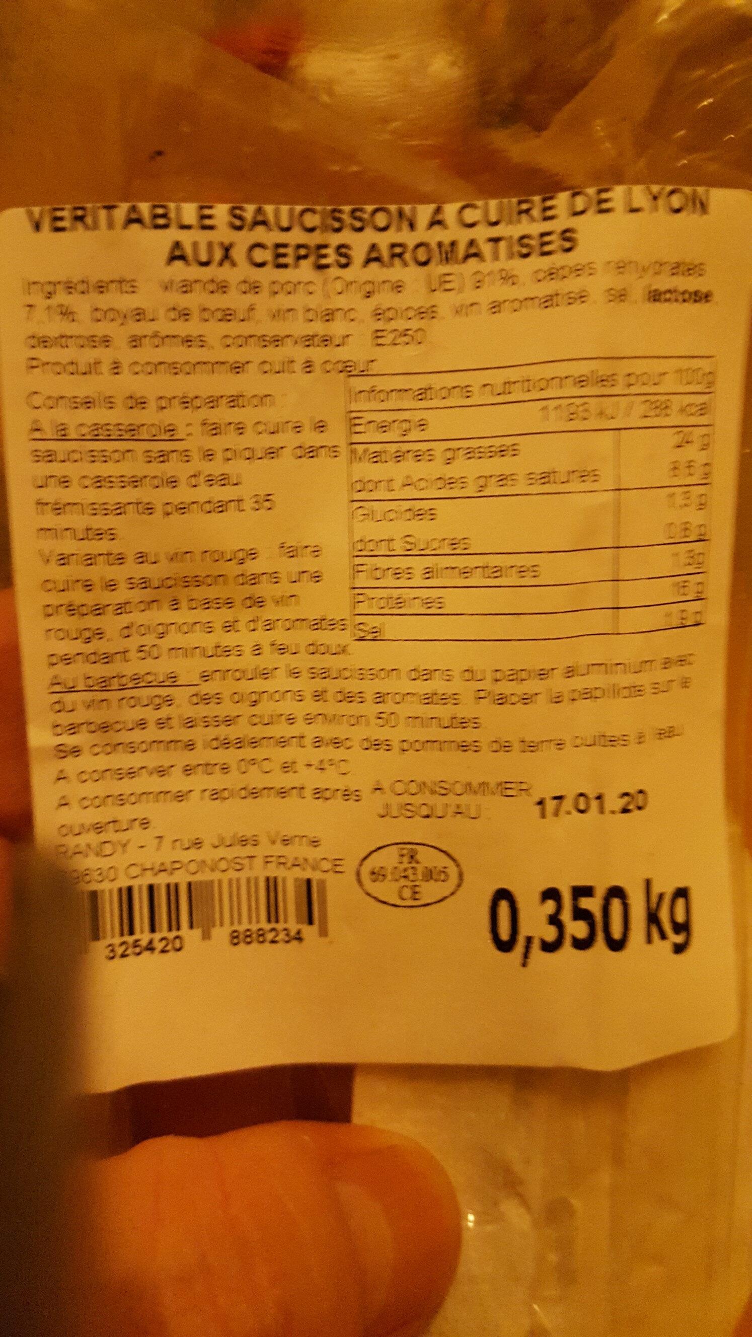 Véritable saucisson à cuire de Lyon aux cèpes - Ingredients