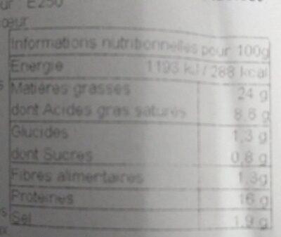 Véritable saucisson à cuire de Lyon aux cèpes - Nutrition facts