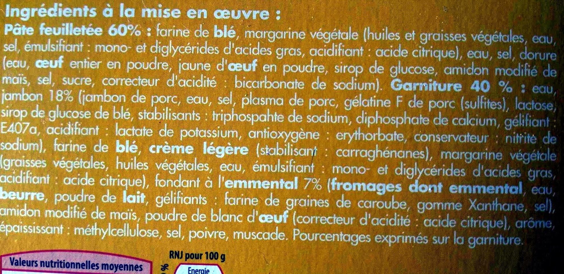 4 Feuilletés Jambon Fromage, Surgelés - Ingredients - fr