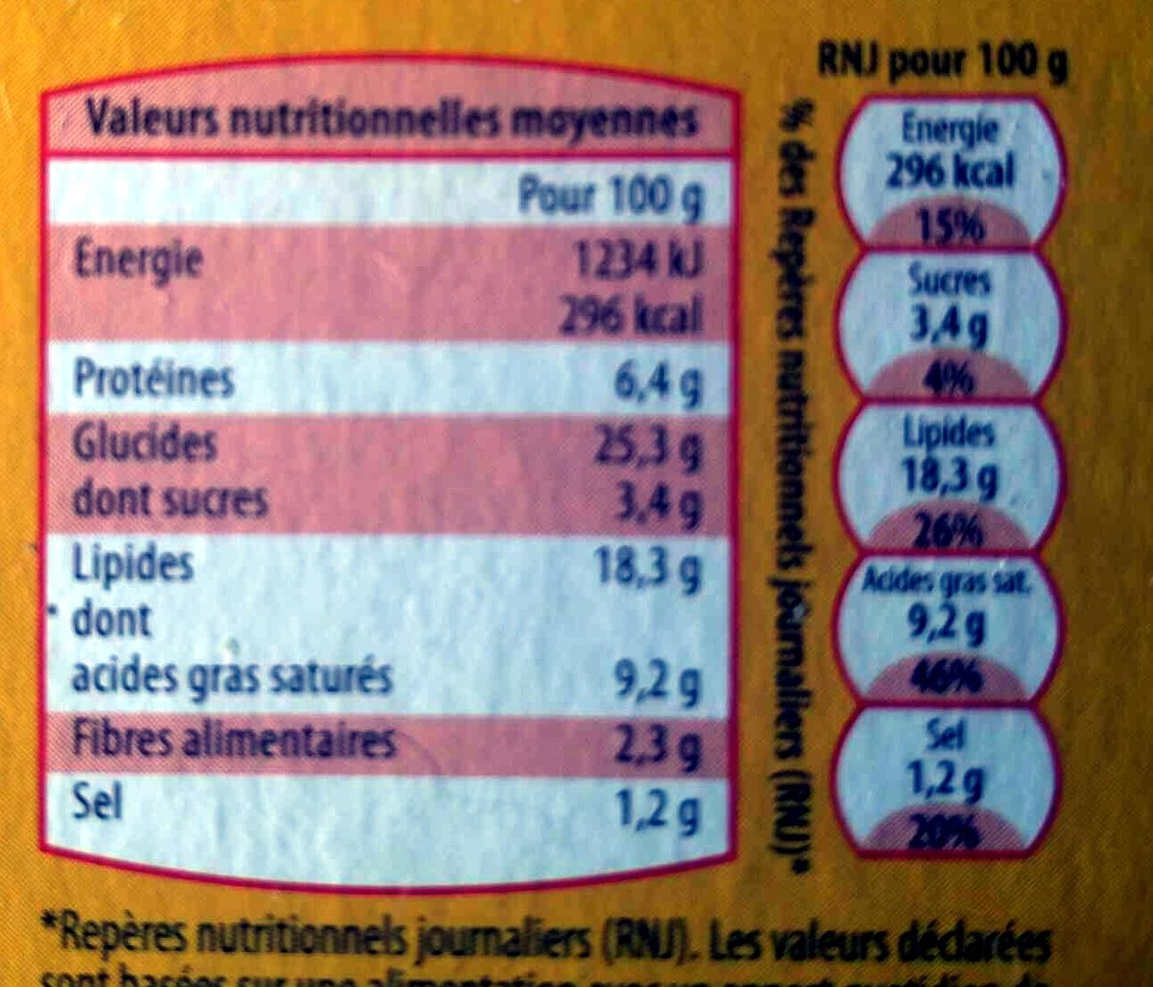 4 Feuilletés Jambon Fromage, Surgelés - Nutrition facts - fr