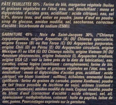 4 Paniers Feuilletés aux Noix de Saint-Jacques*, Surgelés - Ingrédients