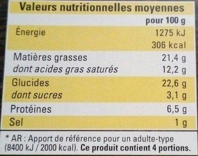 4 Paniers Feuilletės aux 3 Fromages - Informations nutritionnelles