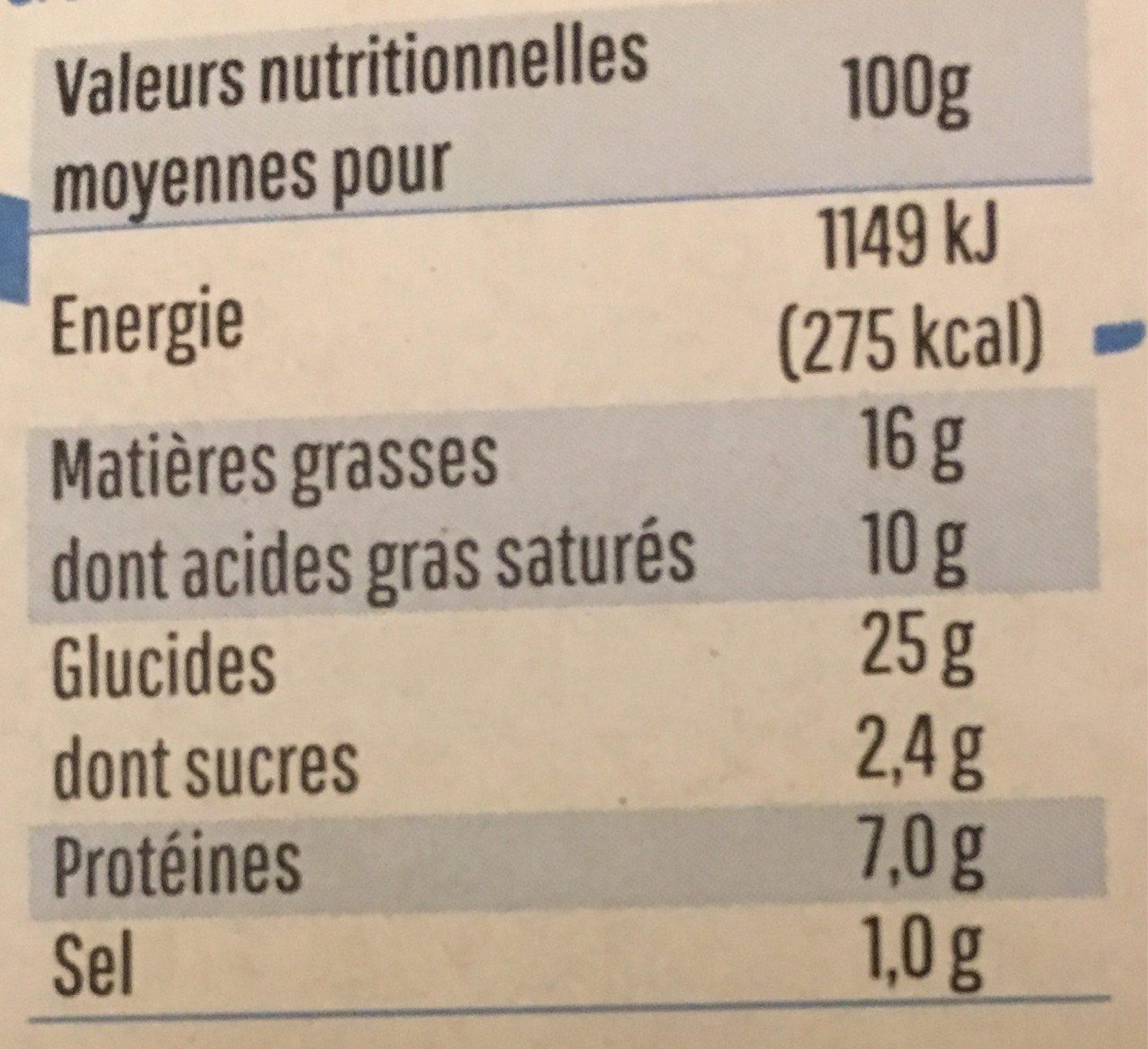 Feuilletes nordiques - Voedingswaarden - fr