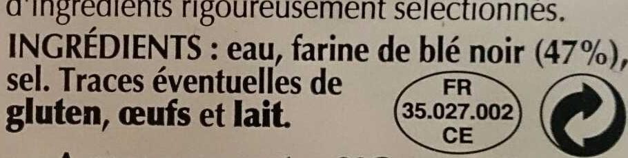 Galettes de Blé Noir - Ingrédients - fr