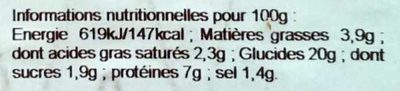 2 Galettes de Blé Noir Jambon, Emmental, à la Forestière - Informations nutritionnelles