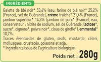 2 Galettes de Blé Noir Jambon Supérieur et Emmental biologiques - Ingrediënten - fr