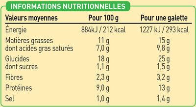 2 Galettes de Blé Noir Jambon Supérieur et Emmental biologiques - Voedingswaarden - fr