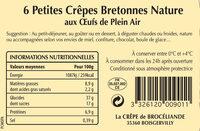 6 Petites Crêpes Bretonnes aux Oeufs de Plein Air en sachet - Nutrition facts