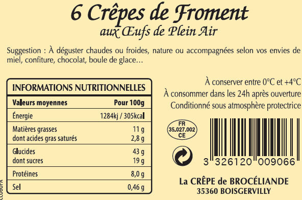 6 Crêpes de Froment aux Oeufs de Plein Air en barquette - Nutrition facts
