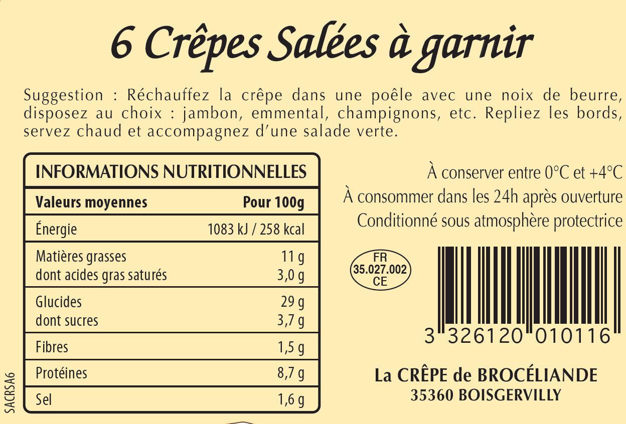 6 Crêpes de Froment Salées en Sachet - Nutrition facts
