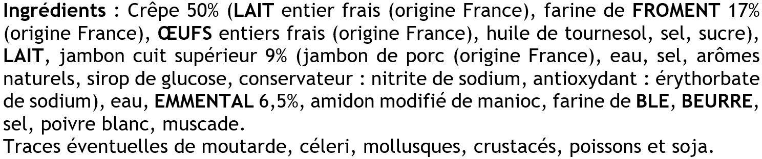 4 Crêpes de Froment Roulées Jambon Supérieur et Emmental - Ingrédients - fr