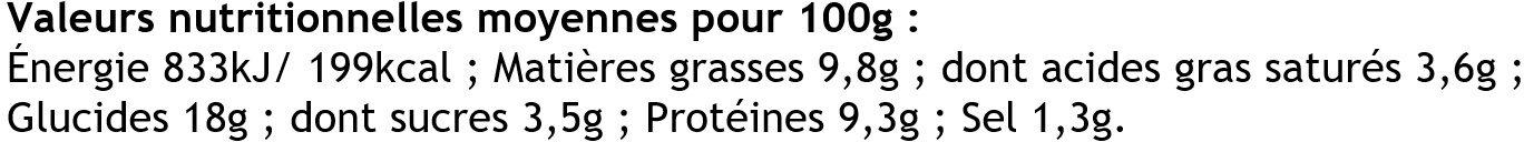 4 Crêpes de Froment Roulées Jambon Supérieur et Emmental - Informations nutritionnelles - fr