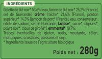 2 Galettes Jambon Supérieur et Emmental Biologiques - Ingrediënten - fr