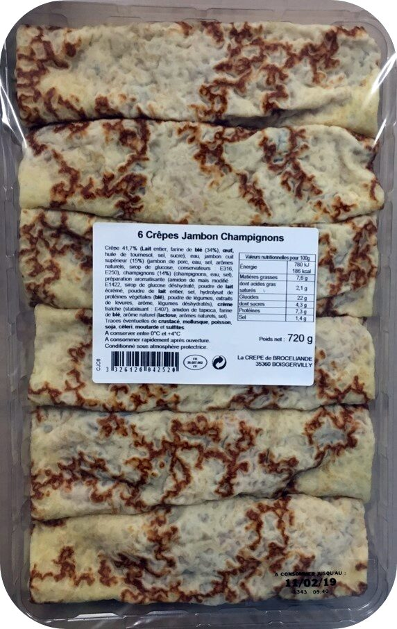 6 Crêpes  de Froment Rouléees Jambon Supérieur et Champignons - Product