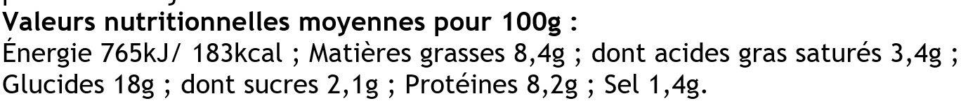 6 Crêpes  de Froment Rouléees Jambon Supérieur et Champignons - Nutrition facts