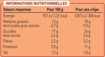 2 crêpes Fruits de Mer et petits Légumes - Nutrition facts