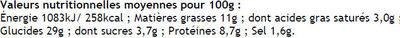 Crepe froment salée - Nutrition facts