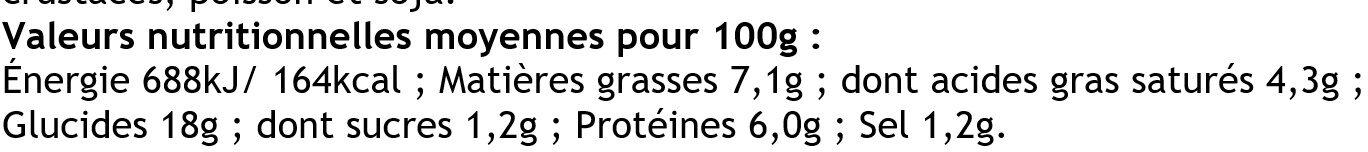 6 Crêpes Roulées Jambon Supérieur et Emmental - Nutrition facts