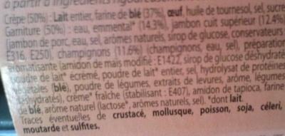 Crêpes Jambon supérieur et Champignons à l'Emmental - Ingredients - fr