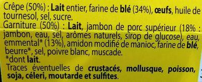 2 Crêpes Roulées au Jambon Supérieur et à l'Emmental - Ingrédients - fr