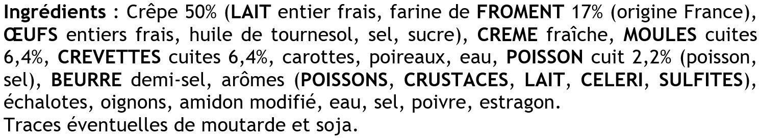 2 Crêpes de Froment Roulées aux Fruits de Mer - Ingrédients
