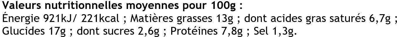 2 Crêpes de Froment Roulées aux Fruits de Mer - Informations nutritionnelles