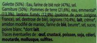 2 galettes paysanne aux pommes de terre lardons et oignons - Ingrédients - fr