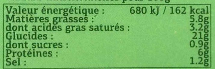 2 galettes paysanne aux pommes de terre lardons et oignons - Informations nutritionnelles - fr
