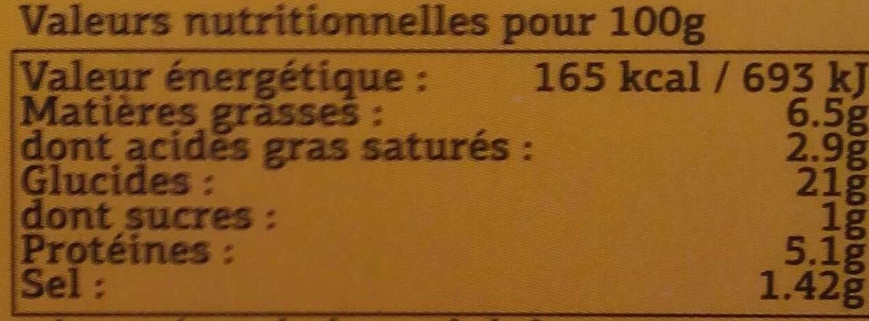 2 Galettes Tartiflette - Informations nutritionnelles - fr