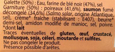 Galette  saumon fumé Poireaux - Ingrédients - fr