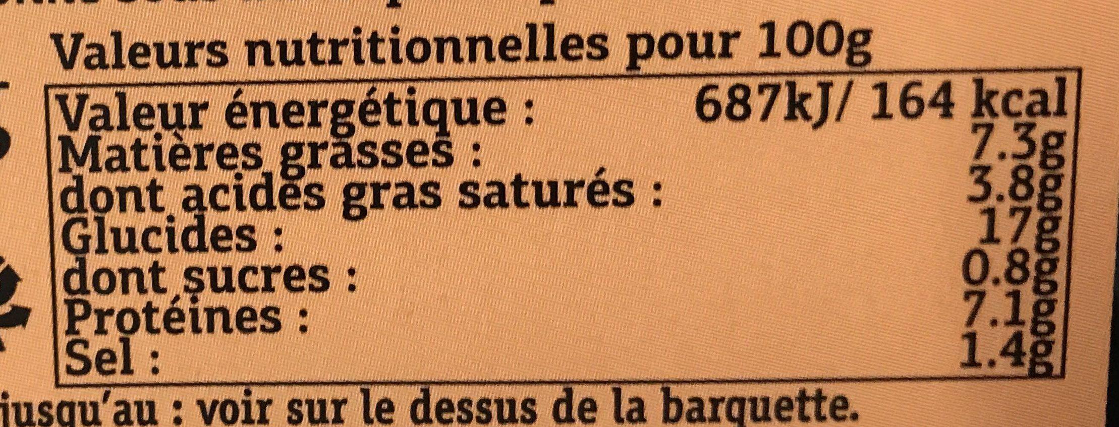 Galette  saumon fumé Poireaux - Informations nutritionnelles - fr