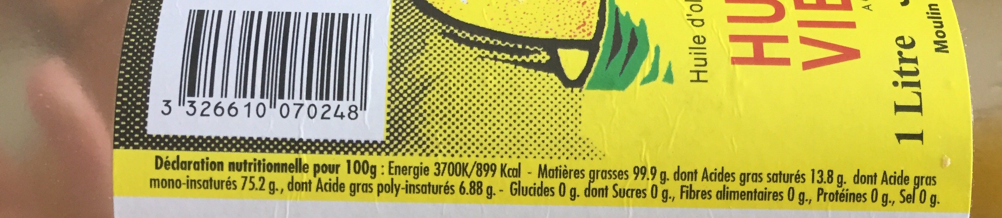 Huile d'olive vierge extra - Informations nutritionnelles - fr