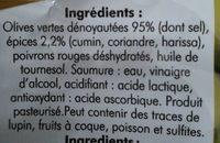 Olives dénoyautées à l'orientale - Ingredients