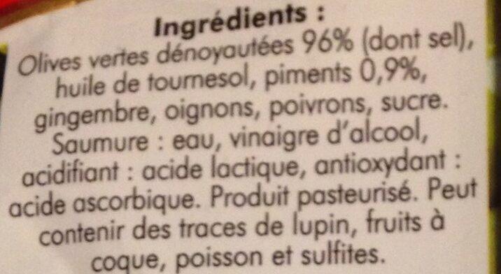 Olives Vertes Pimentées - Ingredients