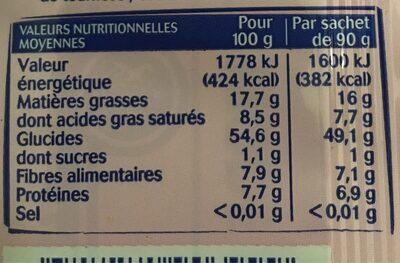 Popcorn micro-ondes sucré - Valori nutrizionali - fr