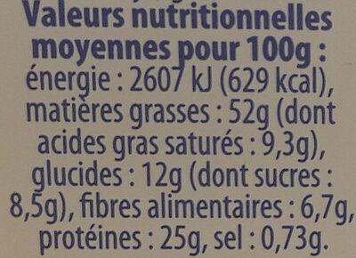 Beurre de cacahuètes crunchy sans huile de palme - Valori nutrizionali - fr