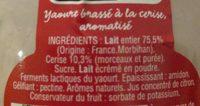 Yaourt cerise au lait entier - Ingrédients